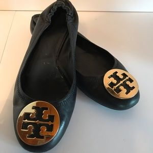 Tory Burch Black Leather Ballet Flats Size 8.5M